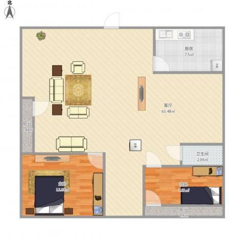 金沙俊园2室1厅1卫1厨126.00㎡户型图