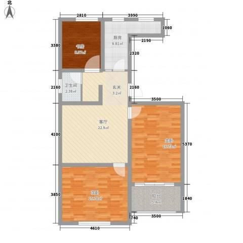 恒信西江月3室1厅1卫1厨112.00㎡户型图