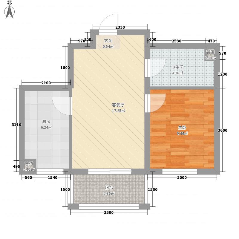 东方哥德堡37.42㎡F栋户型1室1厅1卫1厨