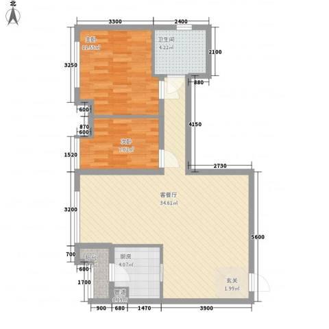 渝能明日城市2室1厅1卫1厨63.35㎡户型图