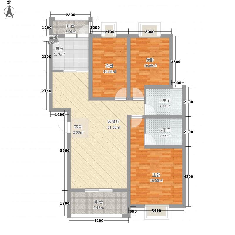 湖滨花园112.22㎡一期D户型3室2厅2卫1厨