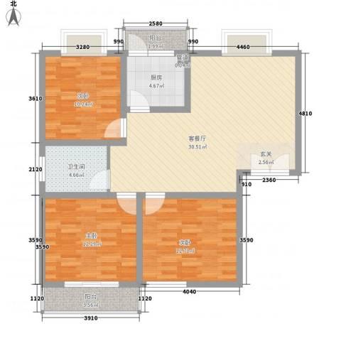 新庄小区3室1厅1卫1厨115.00㎡户型图