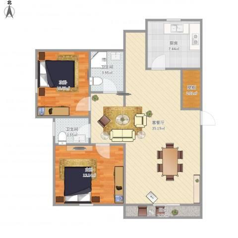 东苑新天地南区-221-822室1厅2卫1厨102.00㎡户型图