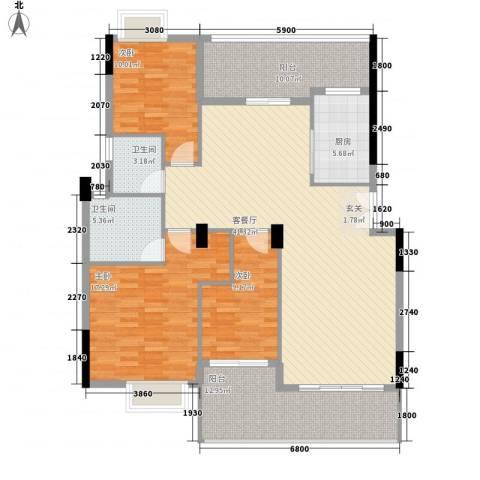东湖花园四区3室1厅2卫1厨160.00㎡户型图
