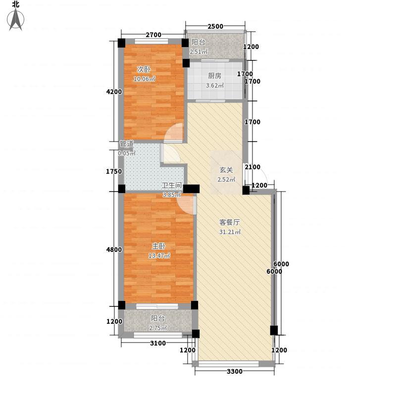 水岸华庭83.14㎡标准层溢彩华章户型2室2厅1卫1厨