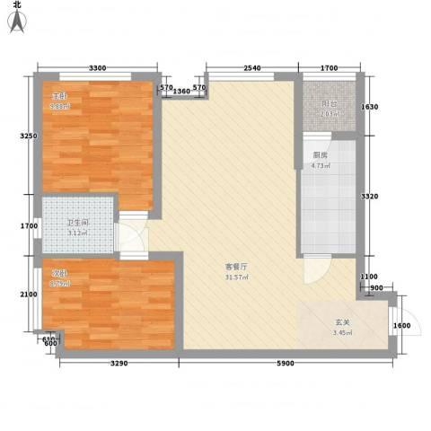 渝能明日城市2室1厅1卫1厨67.00㎡户型图