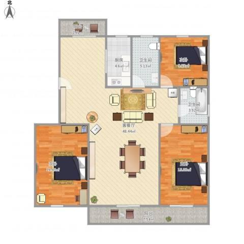 东苑新天地南区-322-1213室1厅2卫1厨151.00㎡户型图