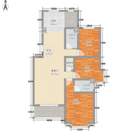 山景明珠花园3室1厅2卫0厨134.00㎡户型图