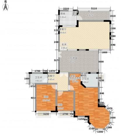 华泰大厦3室2厅2卫1厨125.62㎡户型图