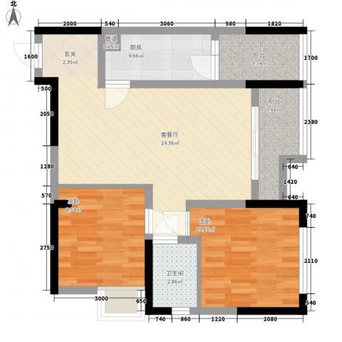 渝能明日城市2室1厅1卫1厨66.00㎡户型图