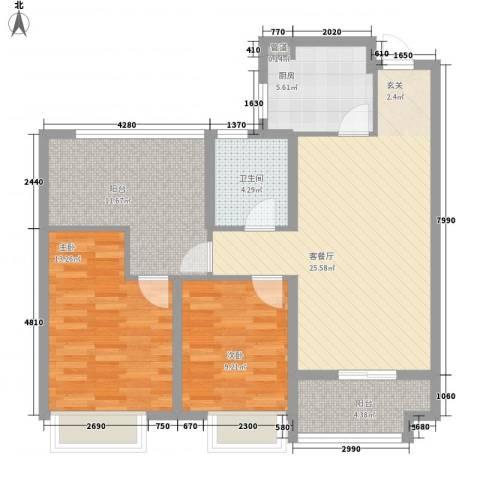 发电厂宿舍楼2室1厅1卫1厨106.00㎡户型图