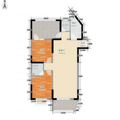 蓝天海岸(金海苑)2室1厅2卫1厨128.00㎡户型图