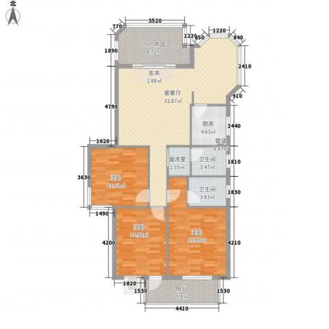 左海筑家3室2厅2卫1厨125.00㎡户型图