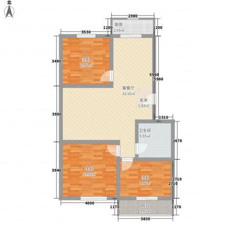 丰硕苑3室1厅1卫1厨111.00㎡户型图