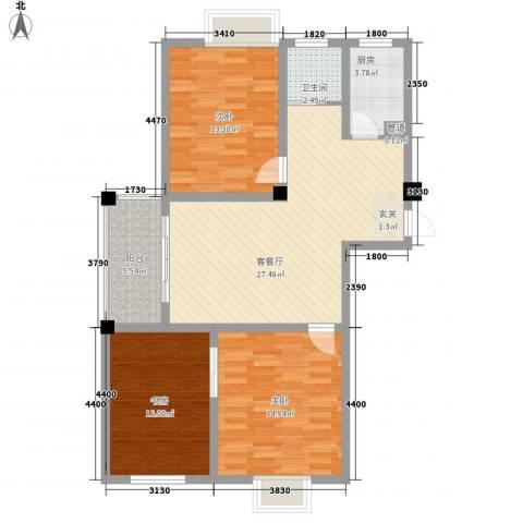 壹品茗筑3室1厅1卫1厨91.04㎡户型图