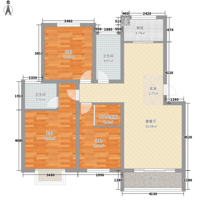 百步亭花园秀泽园125.00㎡户型3室