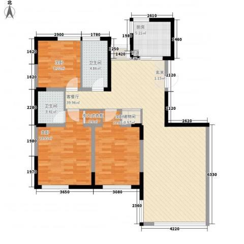 汇利广场住宅3室1厅2卫1厨126.00㎡户型图