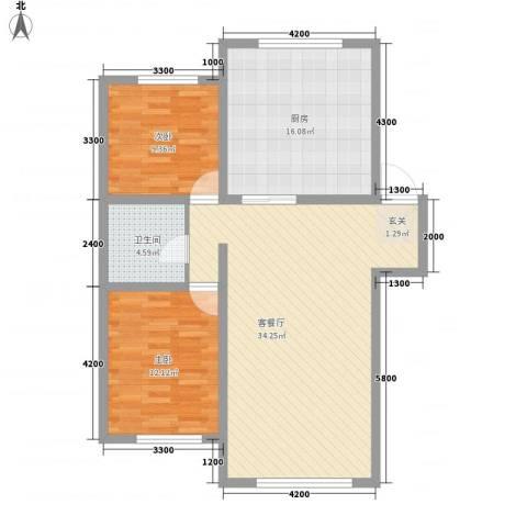 龙逸花园2室1厅1卫1厨76.40㎡户型图