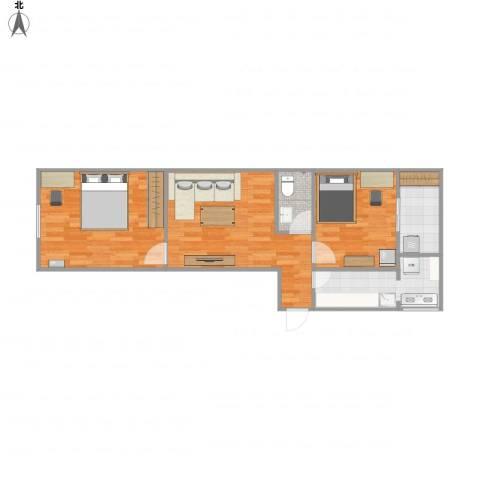芙蓉南里2室1厅1卫1厨72.00㎡户型图