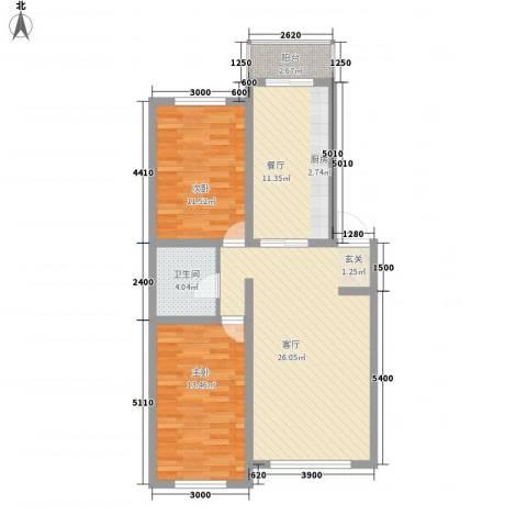 龙逸花园2室2厅1卫0厨69.09㎡户型图