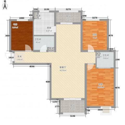 荣滨大厦3室1厅2卫1厨147.00㎡户型图