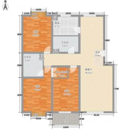 集友公寓3室1厅2卫1厨113.92㎡户型图