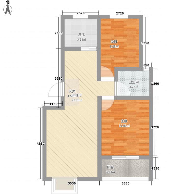 瑞隆城78.00㎡2E户型2室2厅1卫1厨