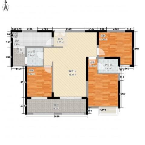 黄岸头花园3室1厅2卫1厨92.56㎡户型图