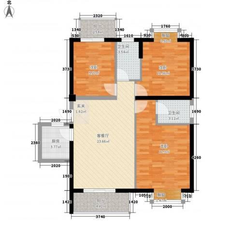 浦南花园3室1厅2卫1厨113.00㎡户型图