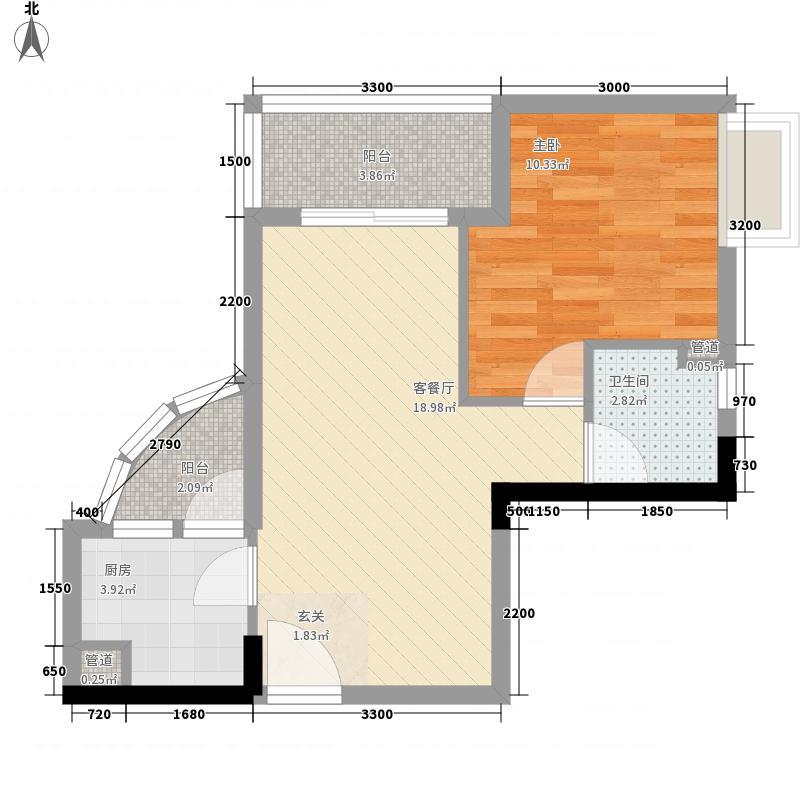 东龙世纪花园五期62.47㎡A户型1室1厅1卫