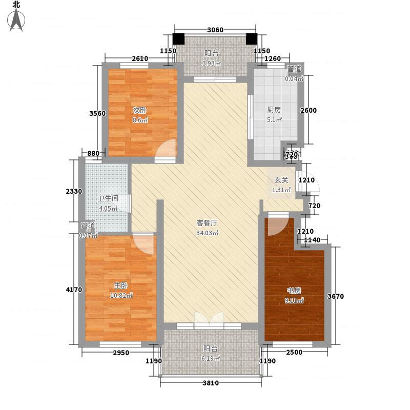 皇山城3室1厅1卫1厨118.00㎡户型图