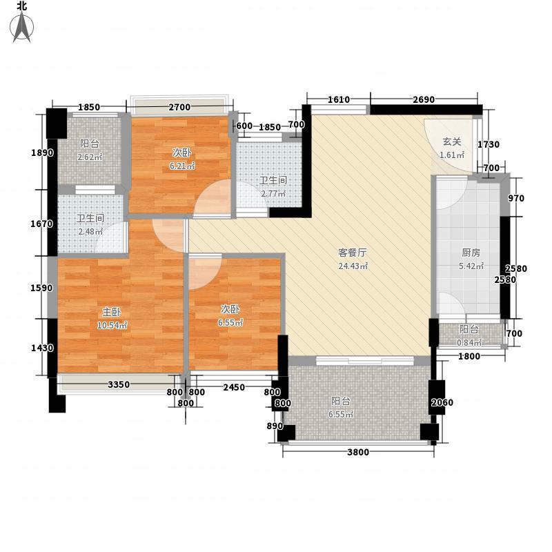 华阳嘉苑4座01单位户型3室2厅2卫1厨