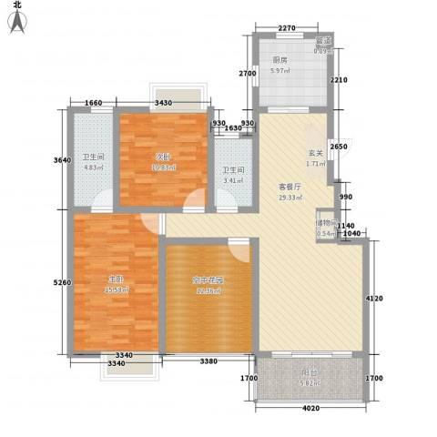壹品茗筑2室1厅2卫1厨102.60㎡户型图