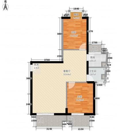 浦南花园2室1厅1卫1厨100.00㎡户型图