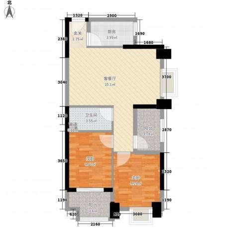 敬贤公园2室1厅1卫1厨85.00㎡户型图