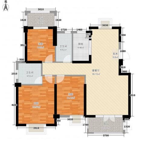 公园新村3室1厅2卫1厨136.00㎡户型图