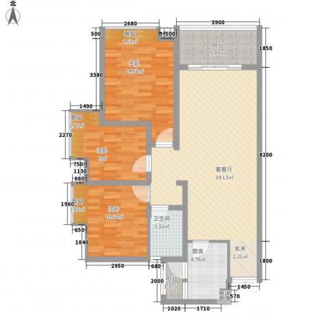 百年汇3室1厅1卫1厨312.00㎡户型图