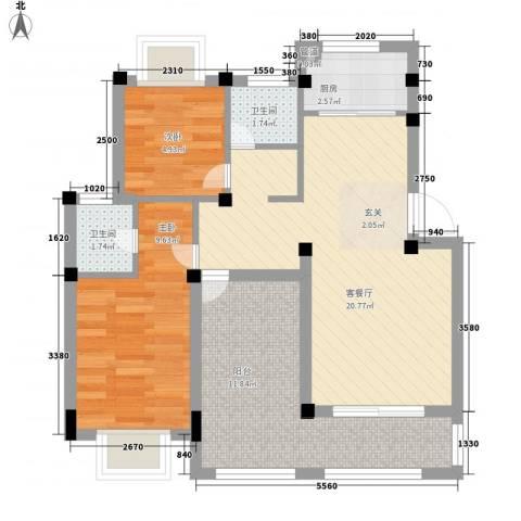 海伦堡国际公寓2室1厅2卫1厨78.00㎡户型图
