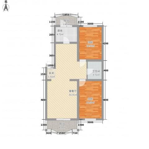 龙逸花园2室1厅1卫1厨71.70㎡户型图