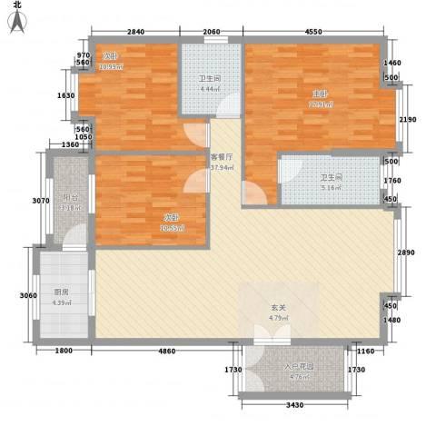 名汇城市花园3室1厅2卫1厨111.37㎡户型图
