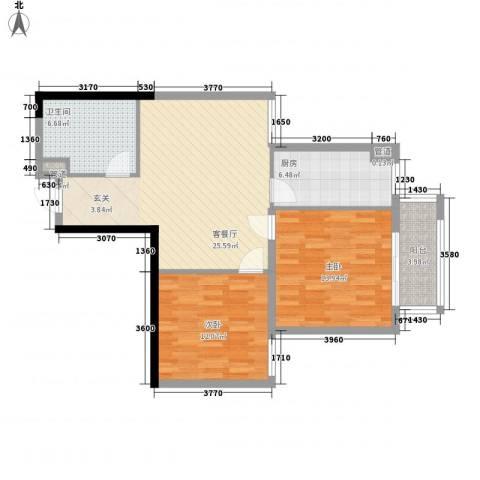 泰丰观湖2室1厅1卫1厨98.00㎡户型图