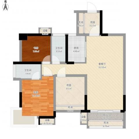 凯旋名门花园2室1厅2卫1厨120.00㎡户型图