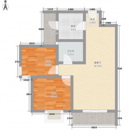 钢都花园124街坊2室1厅1卫1厨67.34㎡户型图