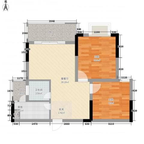 布克公馆2室1厅1卫1厨52.48㎡户型图