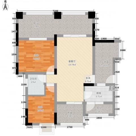 复地山与城2室1厅1卫1厨105.00㎡户型图