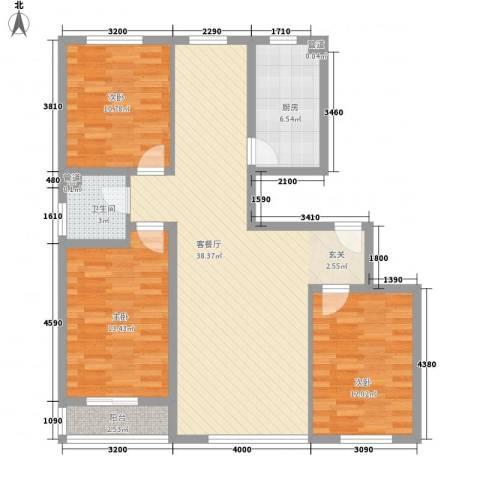 解放路防疫站宿舍3室1厅1卫1厨86.81㎡户型图