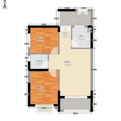 湖光大厦2室1厅1卫1厨86.00㎡户型图