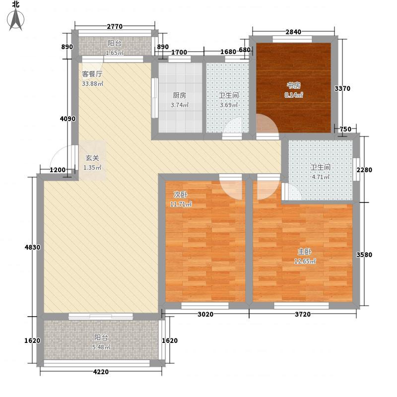 汇泉丽景124.37㎡户型3室2厅2卫
