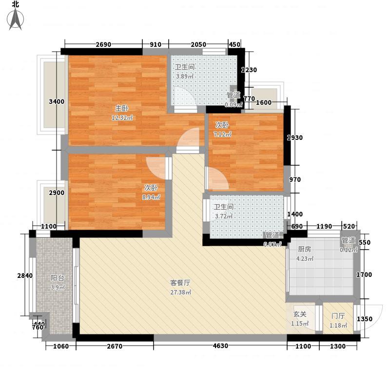 金地香山湖15.00㎡c户型3室2厅2卫1厨