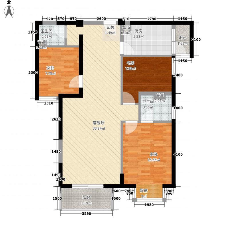 浦南花园1#、2#、3#楼29层08单元户型3室2厅2卫1厨